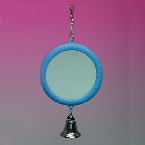 2 sided Round Mirror 7.7cm W/bell