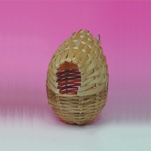 Finch Nest Hooded (rattan) 9x9.5cm
