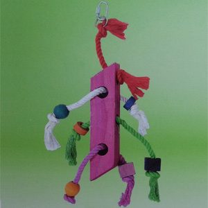 Wooden Rope Coloured Trapezoid Vert. Toy