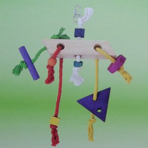 Wooden Rope Coloured Trapezoid Hor. Toy
