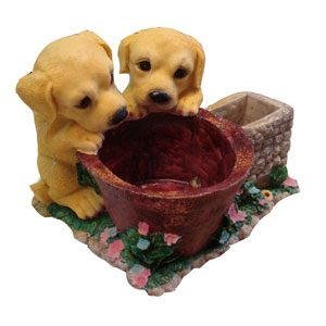 Resin Ornament Dogs Over The Well