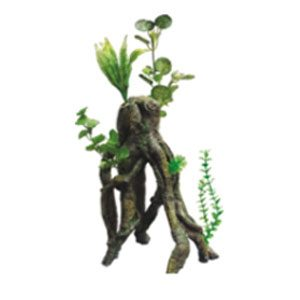 Resin Tree Root W/plants 27 X 20 X 37cm