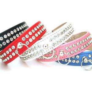 "Leather Diamonte Collar 10""12"" Pink"