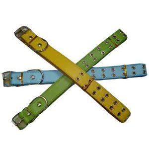 Leather Dog Collar (54hole) 2.5 X 56cm Yellow