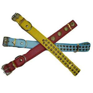 Leather Dog Collar With Flat Studs 2.5 X 55cm