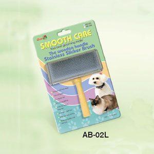 Slicker Brush Wooden Handle S/S Back (L)