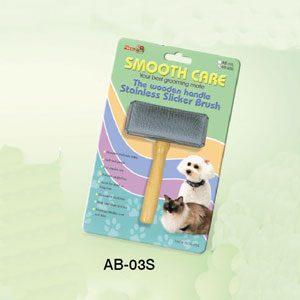 Slicker Brush Wooden Handle S/S Back (S)