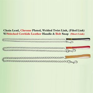 """Chain Lead With Leather Handle 3.5mm X 48"""""""