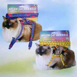 """Nylon Cat Harness & Lead Carded  9"""""""