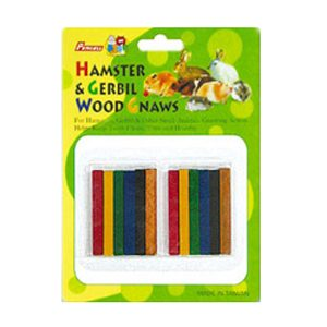 12pc Small Coloured Gerbil Wood Gnaw Carded