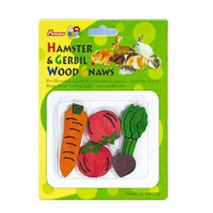 4pc Vegetable Coloured Gerbil Wood Gnaw Carded