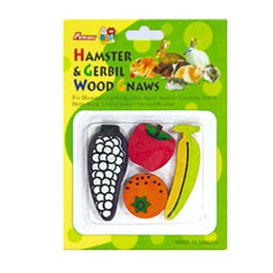 4pc Fruit Coloured Gerbilwood Gnaw Carded